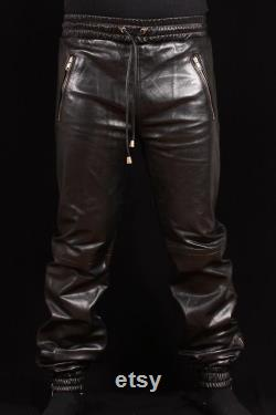 100 Genuine Sheep Leather Trouser for Mens Soft Leather Draw Pants for Jogging New style Lambskin Trouser for sleeping