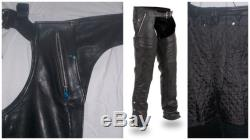 1191 Black Unisex Leather Chaps Removable Snap Outliner