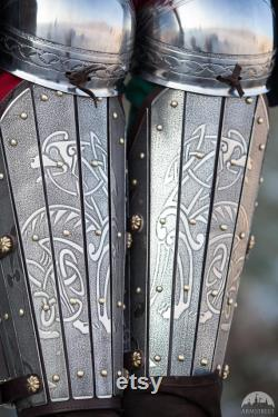 15 DISCOUNT READY to ship One size in stock Etched Leg Armor with Knees Splint Greaves Steel Greaves