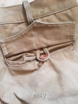 1930s French Canvas Hunting Breechs lace up calves brown workwear chore pants trousers