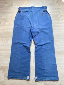 1930s French Old Cotton Indigo Fade Work Pants Side Adjusters Vintage Workwear Antique