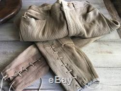 1940s French Riding Pants Jodhpurs, Heavy Corduroy, Lace Up, Calvary Regiment