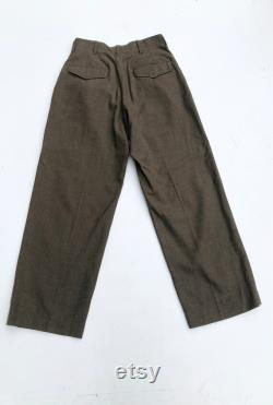 1940s Olive Wool Military Uniform Trousers 28