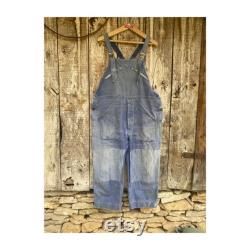 1950s Adolphe Lafont French Work Dungarees Overall. Patched and faded