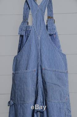 1950s BIG MAC Overalls Hickory Stripe Union Made Conductors Workwear Sanforized Railroad Denim Overalls W31