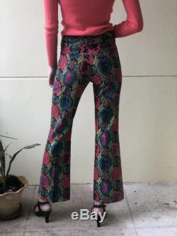 1960's Printed Pants Gender Neutral Printed Party Pants Boot Cut Flare Jeans Pink Blue Teal Animal Printed Slacks