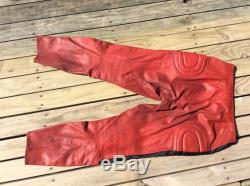 1960's Red leather motorcycle race pants.