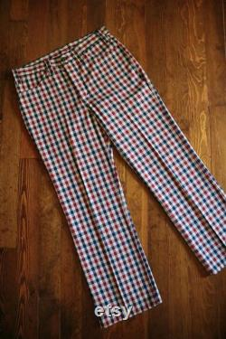 1970's Levi's Red White and Blue Plaid Gentleman's Jeans 33