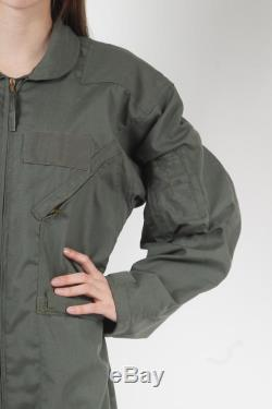 1980s Flight Suit Military Green Overall Vintage 90s Army Jumpsuit Coveralls Zip Up Grunge Pantsuit Long Sleeve Romper Boilersuit Large XL