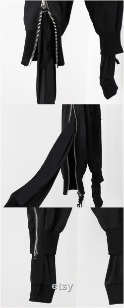 2021 Spring Men's Double-layered fabric double trousers zipper adjustable Tapered Fit Zipper hip-hop feet pants Guo Chao Harun pants