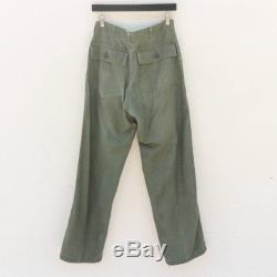 30-32 1970's OG-107 Military Pants Zipper Fly Cotton Sateen Type 1 Army Utility Trousers