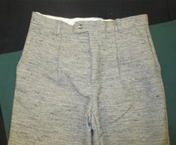 36 waist up to 33 inseam grey jeancloth wool and cotton outer fabric lined with muslin two side pockets, one rear pocket