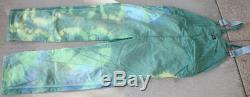 44x32 tie dye dickies bib overalls, tub dyed blue and yellow make green.