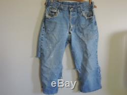 60's 70's LEE Thrashed Denim Jeans Cut Off Made in USA No Rivets or S on Pocket Talon Zipper 42 Repurpose to Personalize to your Style