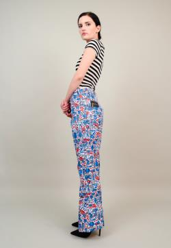 60s 70s LILLY PULITZER Pants Men's Stuff Unisex America July 4th Graphic Print Flared Jeans Medium M 31 32