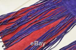 60s Leather Fringe Pants Red and Purple Custom Leather Lace Up Rock n Roll Lace Up Leather Pants