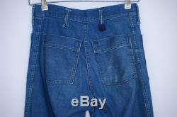 60s Swabby Patched Sailor Jeans 'Who Gives a Shit' Indigo Dungaree Bell Bottom Hippie Jeans 28 x 33