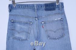 70s Levis 517 Black Bar Perfectly Distressed Indigo Denim Made in USA Blue Jeans 33 x 31