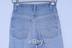 70s Levis 646 Orange Tag Perfectly Distressed Blue Denim High Waisted Bell Bottoms 27.5 x 33