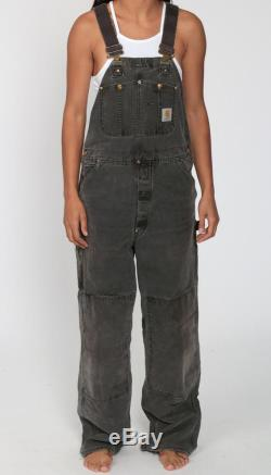 90s CARHARTT Overalls Black Overalls Work Coveralls Baggy Pants Streetwear Coveralls Workwear Long Faded Charcoal Vintage Medium Large