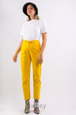 90s Vintage VALENTINO Canary YELLOW High Waisted Tapered Leg JEANS