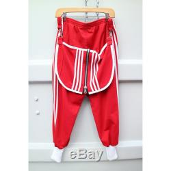 Adidias x 1offz red cuffed joggers hand stitched punk patch clip on butt flap white striped unisex vegan one of a kind large baggy