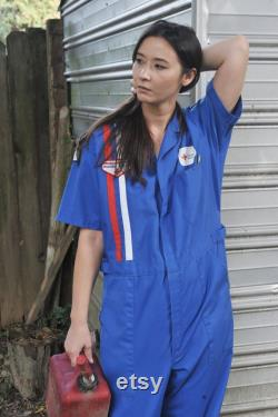 American Red Cross Blue Jumpsuit Disaster Service Racing Strip Large Embroidered Patches Short Sleeves Woman's M Mens S made in USA