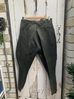 Antique French mens olive green jodhpurs riding breeches size S M