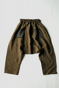 Antique linen drop-crotch pants France 1900's French linen olive brown dyed patched Japanese boro sashiko