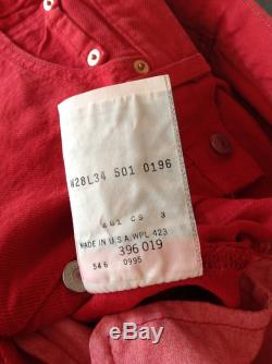 BNWT Very Rare Classic Levi s 501 Jeans Retro 90s Jester Red Colour. 100 cotton. genuine collectable vintage