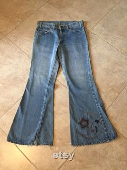 Badass Rare Vintage 1960 s Big E Levis Bellbottom Jeans With Embroidered Detail