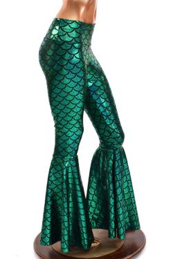 Bell Bottom Flares in Emerald Green Mermaid Scale with High Waist and Stretchy Holographic Nylondex Fit 150305
