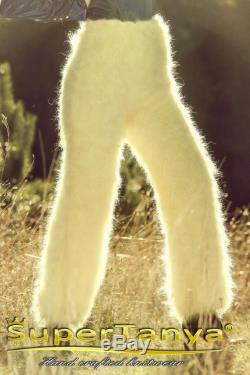 Bespoke fuzzy yellow mohair pants, fluffy soft handmade trousers by SuperTanya