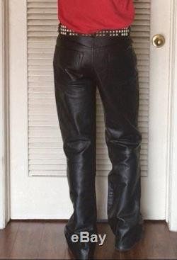 Black Genuine Leather Motorcycle Loose-Fit Pants Xelement, Size 32