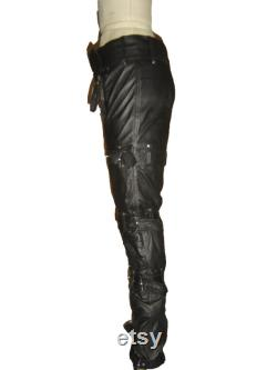 Black Genuine Real Leather Pant with Belts Erotic Party Wear Club Biker Pant