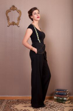 Black Trousers with floral suspenders, loose pants with pockets and removable suspenders
