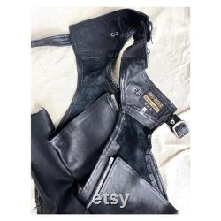 Black motorcycle leather chaps by Pro-Rider. S (US)