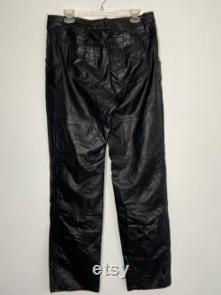 Black pants for Men's and Women's real leather genuine leather modern pants vintage pants streetstyle pants with pockets has size-medium.
