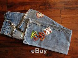 Bootcut Levis Jeans Distressed Jeans Patched Levis Hippie Jeans Unisex Levi Jeans Embroidered Jeans Boho Jeans Grunge Jeans
