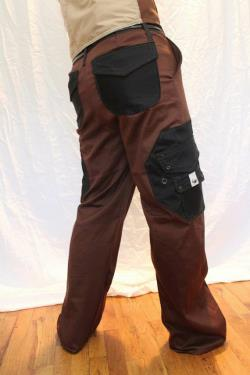 Brown Cargo Pant with Black Octagonal Pcokets