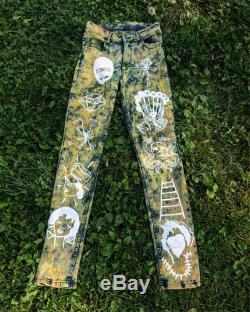 Cheap Monday upcycle tye dye high waist hand painted pants The Hook is in Deep.