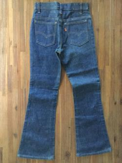Childerns 1970s Vintage Raw Denim Flairs Levi 684 Orange Tab Jeans Waist 24