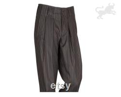 Chocolate Brown White Striped Men's Pleated Pants, Boogie Swing Lindy Hop Retro Vintage Style