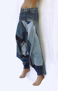 Cool Attitude Unisex Harem pants in patchwork of recycled jeans, denim harem pants, recycled blue jeans, recycling,upcycling,green fashion