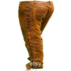 Cowboy Native American Brown Suede Leather Pant Buckskin Beaded Side Laced Suede Leather Zig-Zag Style Pant Western Mountain Man Chap