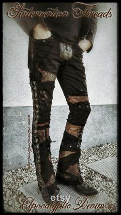 Custom 'Made to order' Apocalyptic Denim Leather Pants Rock wear Stage gear