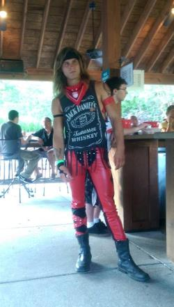 Custom Motley Crue Inspired Red Faux Leather Stretch Pants