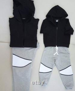 Dad and son set, fother and son, , black hoodies, father and son matching, family matching, matching outfits, dad and me