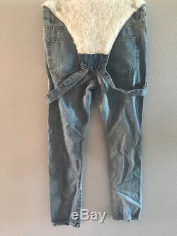 Denim Overall Jeans with Fur Leather