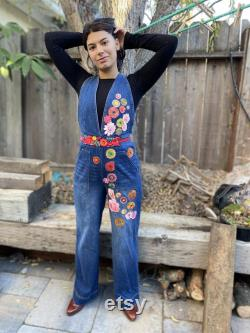 Denim overall jumper size S(7) , Boho, Up-cycled, Patched jeans, Hippie, One of a kind.
